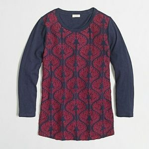 J. Crew Maroon & Blue Embroidered Front Tee Large